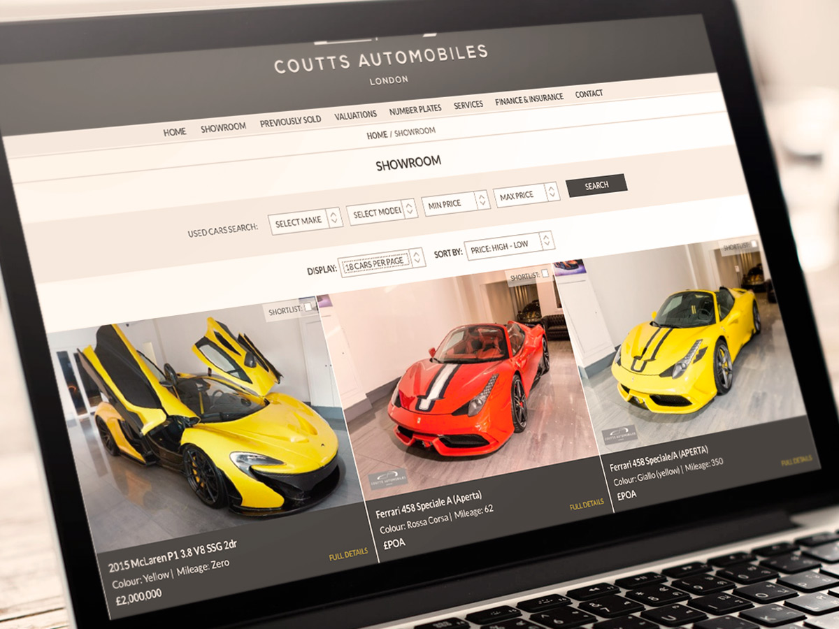 Coutts Automobiles Website Design