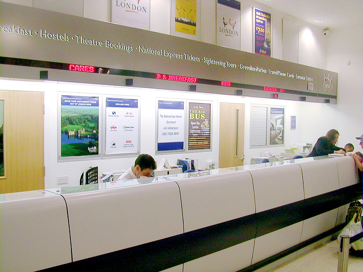 London Tourist Information Centre Counter