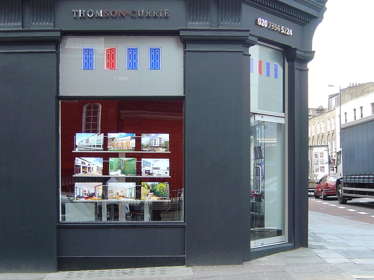 Thomson currie estate agents office design clinton smith for Retail store exterior design