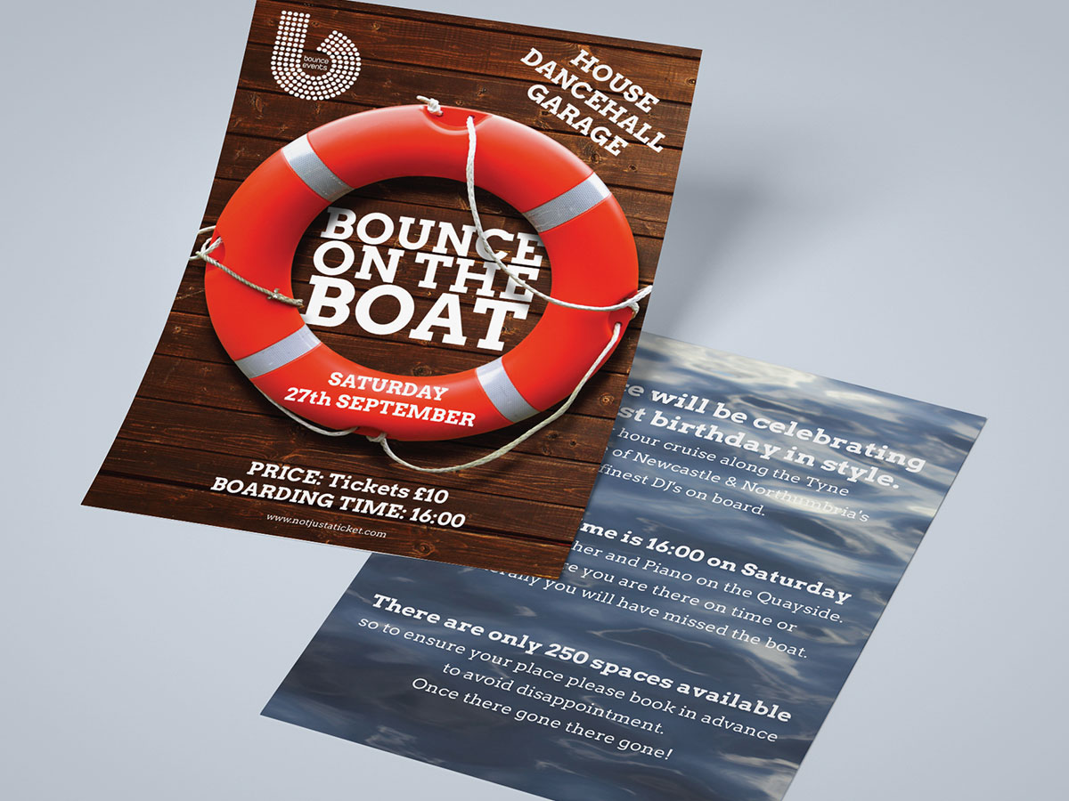 Bounce Events Boat Party A5 Flyer