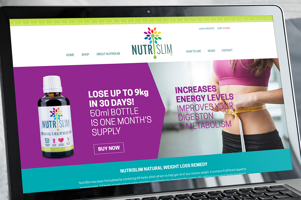 NutriSlim Website Design Laptop