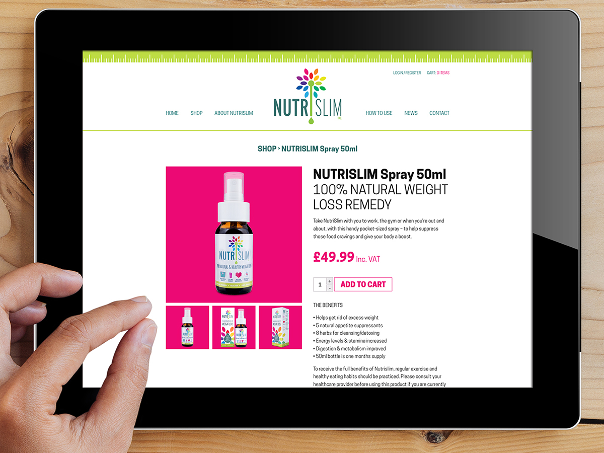 NutriSlim Website Design Tablet