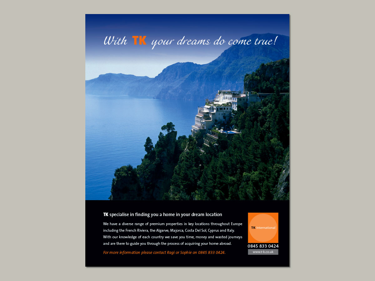 TK International Estate Agents Advertising
