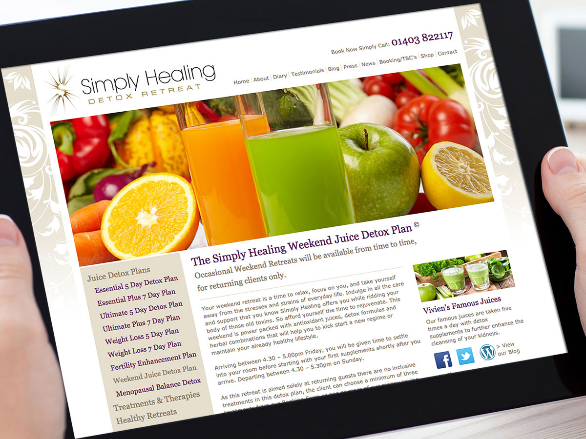 Simply Healing Detox Retreat Website Design