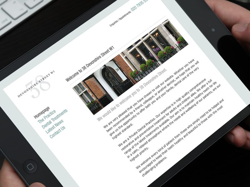 38 Devonshire Street Dentist Website Design