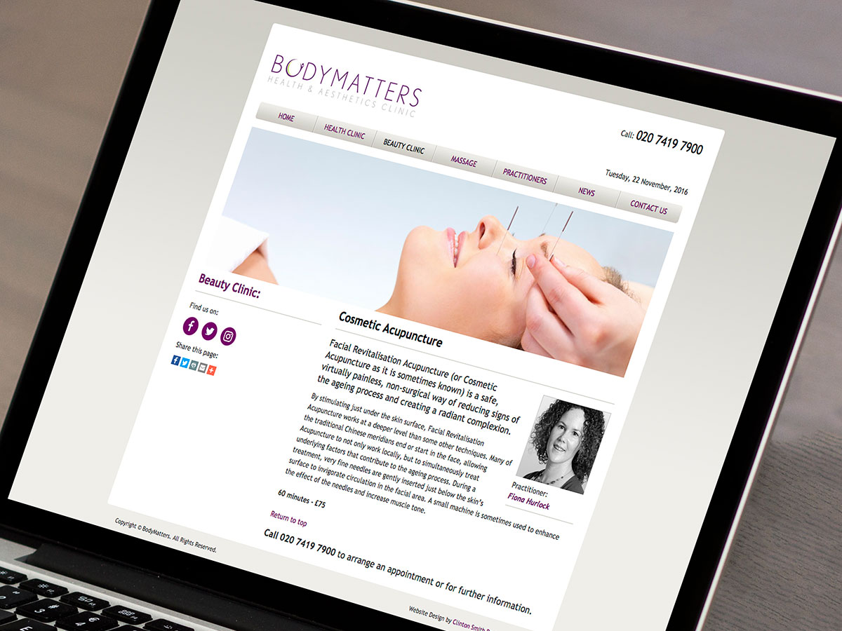BodyMatters Health Beauty Clinic Website Design