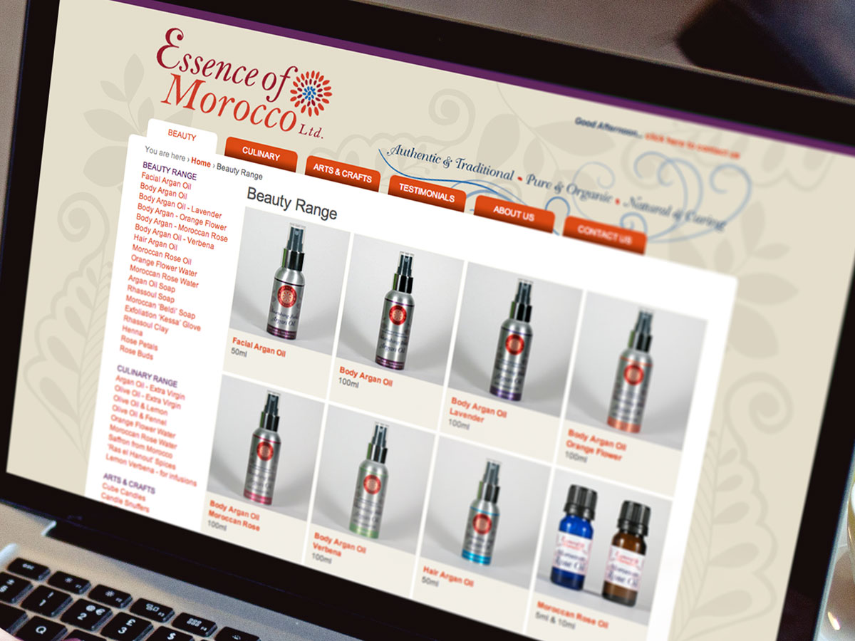 Essence of Morocco Website Design