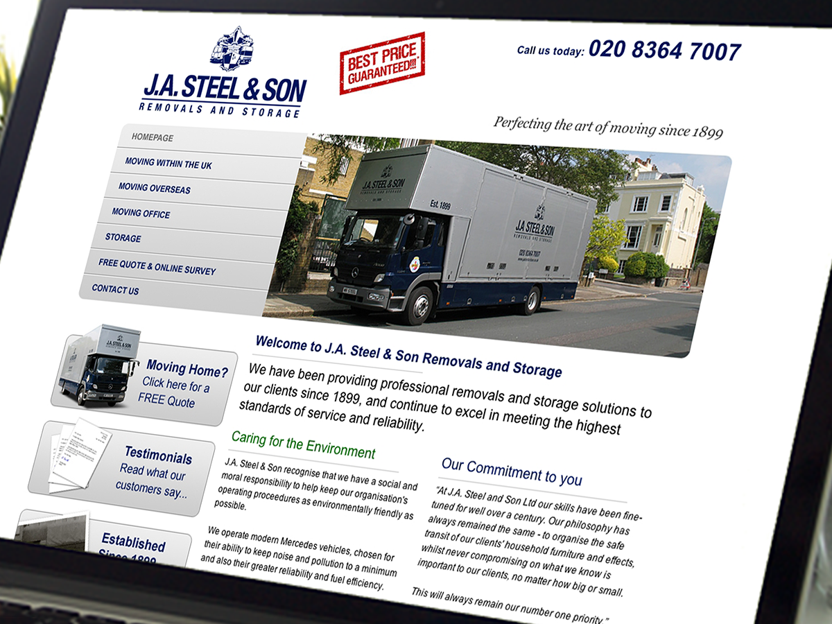 J.A. Steel & Son Website Design