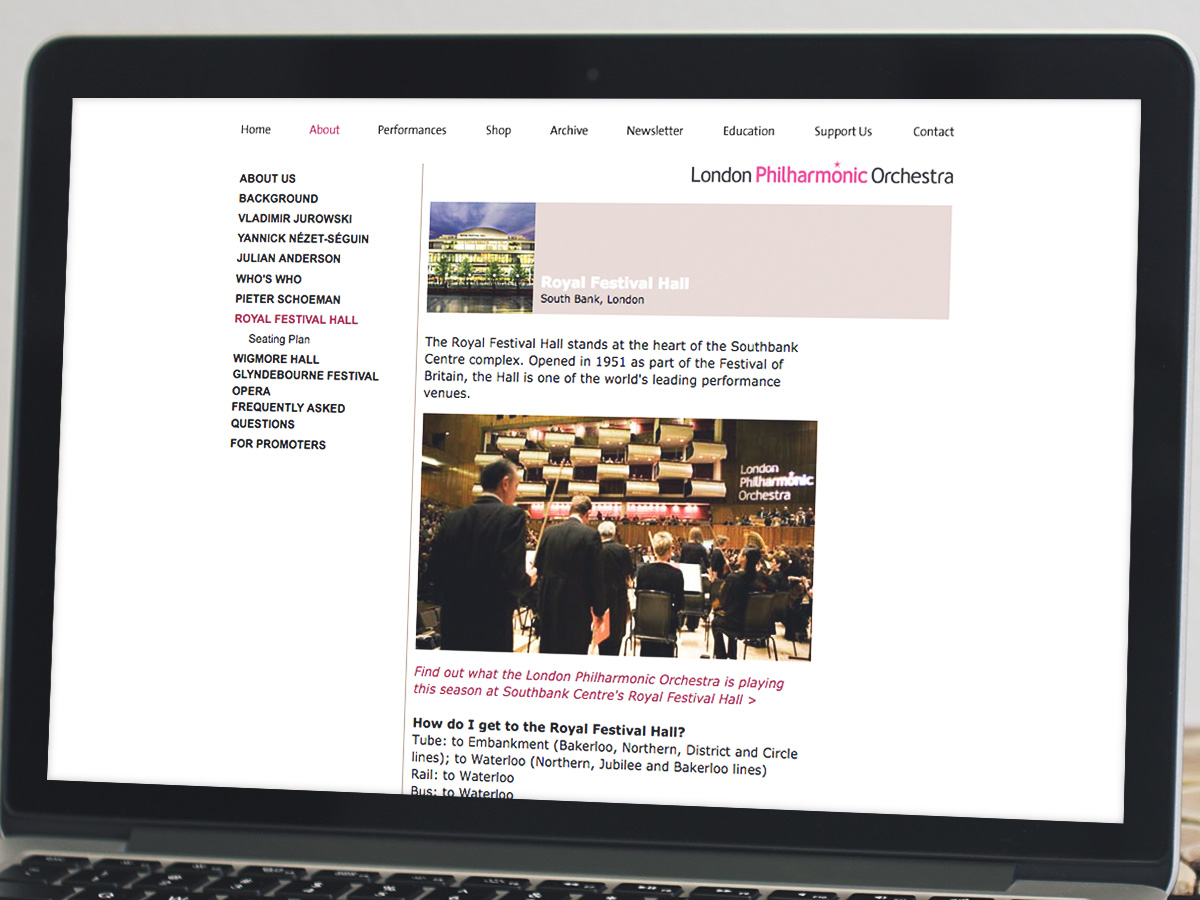 London Philarmonic Orchestra Website Design