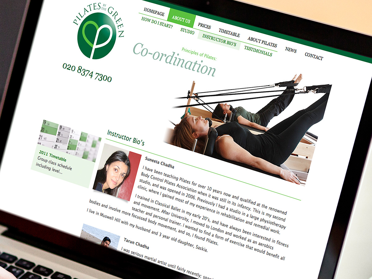 Pilates By The Green Website Design