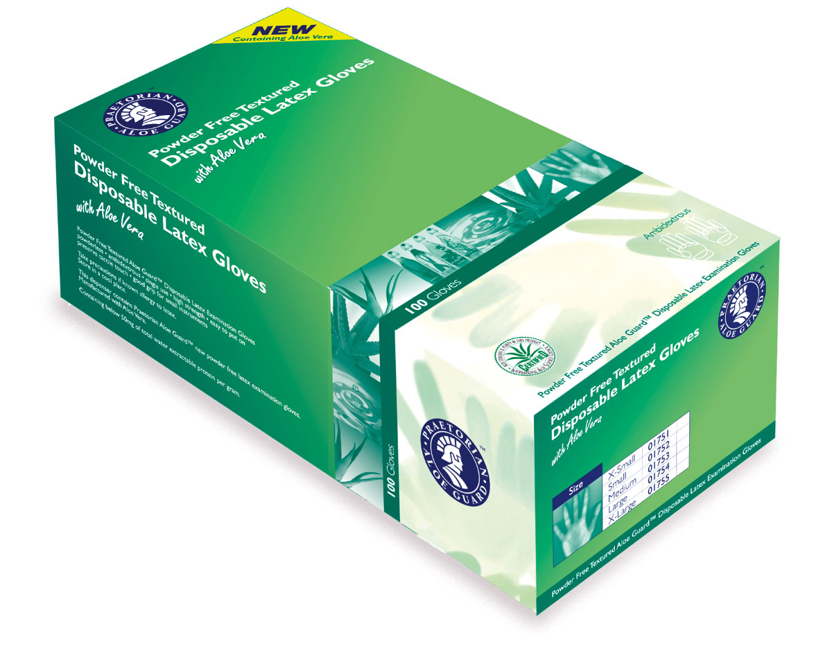 Praetorian Aloe Disposable Gloves Packaging Design