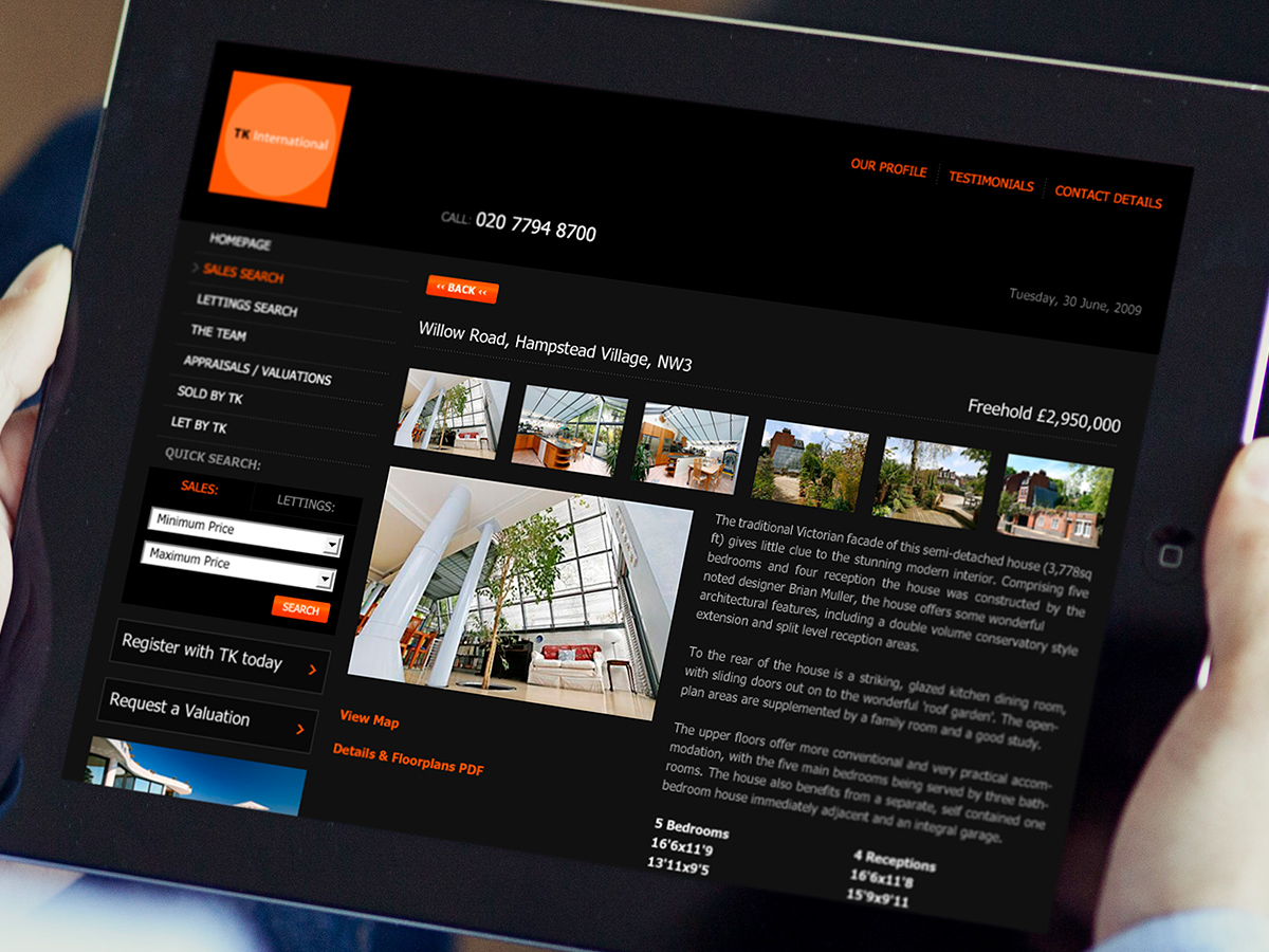 TK International Estate Agents Website Design