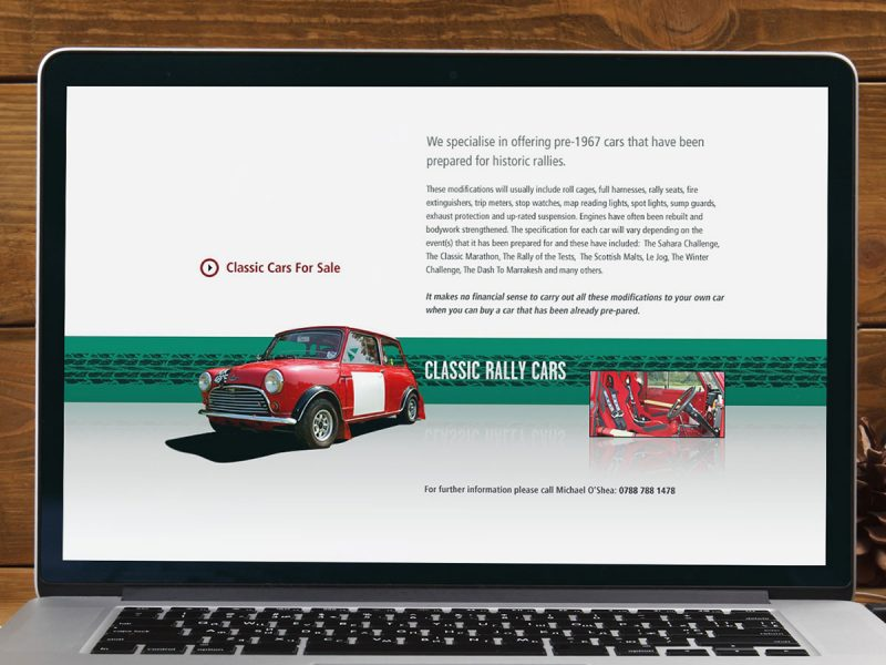 Classic Rally Cars Website Design