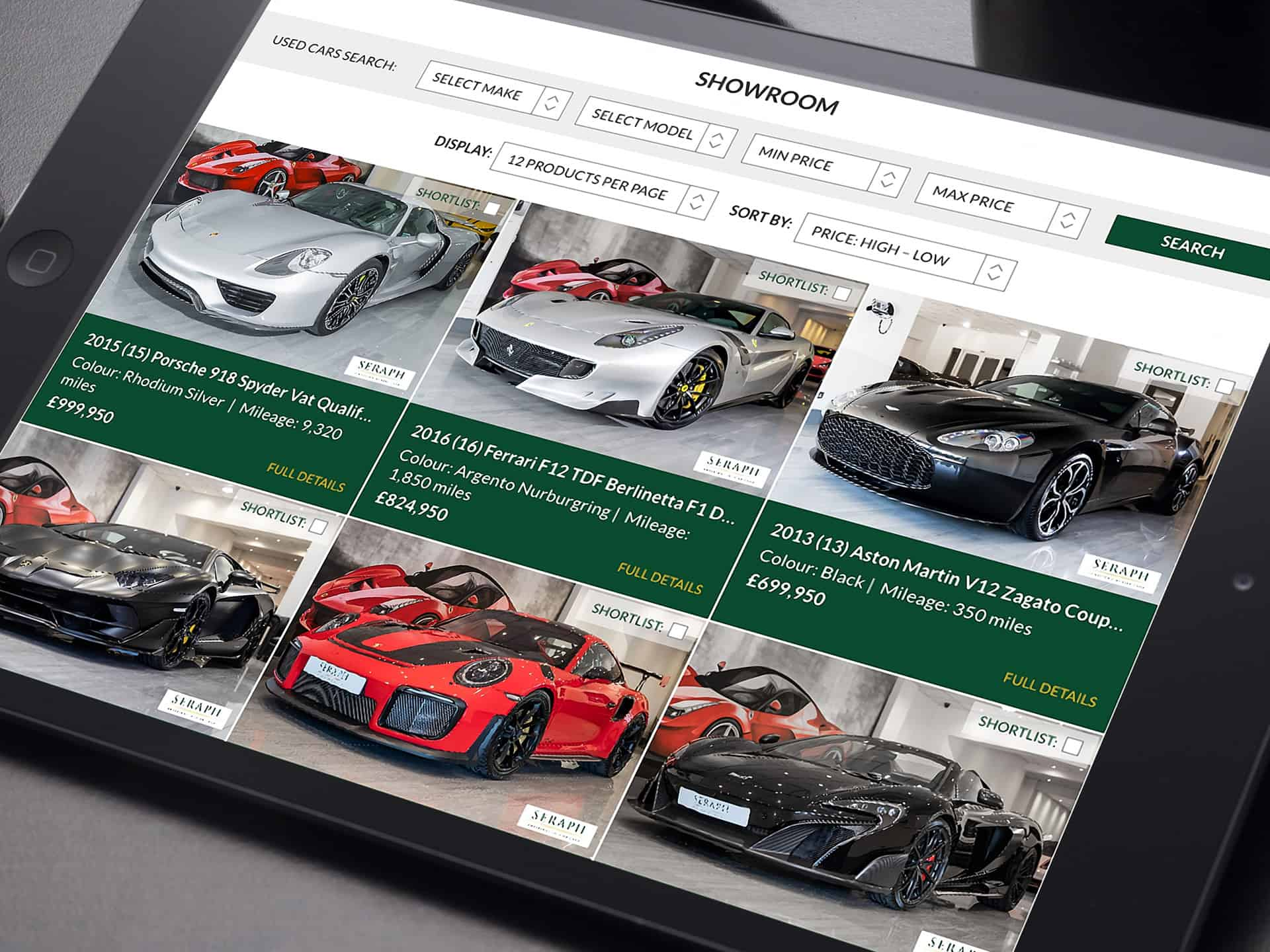 Seraph Cars Website Design